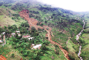 An aerial view of Meeriyabedde where Wednesday's landslide occurred.