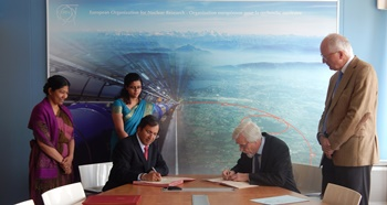 "Sri Lanka's Permanent Representative to the UN in Geneva Ambassador Ravinatha Aryasinha and the Director General of CERN, Mr. Rolf-Dieter Heurer,  signed an ""Expression of Interest' (EOI) Agreement to begin cooperation between CERN and the scientific community in Sri Lanka, on Thursday, 25 June 2015 at the CERN Headquarters in Geneva. Dr. Rüdiger Voss, Head of International Relations CERN, Mrs. Samantha Jayasuriya, Deputy Permanent Representative and Ms. Dilini Gunasekera, Second Secretary of the Sri Lanka Permanent Mission, were associated in the ceremony."
